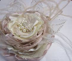 Bridal Fabric Flower In Ivory Blush Champagne Burlap And Feathers Rustic Wedding Headpiece For Sash Belt Fascinator