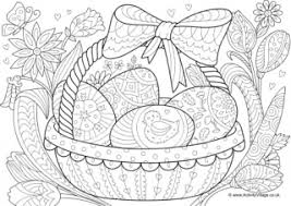 Basket Of Easter Eggs Colouring Page