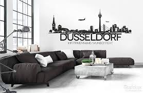 düsseldorf skyline wunschtext wandtattoo wandaufkleber