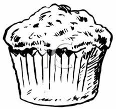 Clip Art Image Black and White Muffin