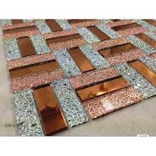 and silver glass mosaic sheets bathroom mirror wall tiles crystal