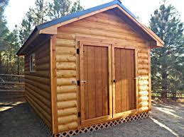 custom log sided shed and custom t1 11 6 double doors idaho