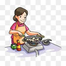 The Mother Who Is Cooking Clipart Cartoon Fire PNG Image And