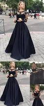 long sleeves prom dresses black two pieces lace top and satin