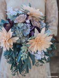 DIY Flower Foilage Paper Rustic DIy Bridal Bouquet