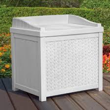Suncast Outdoor Storage Cabinets With Doors by Amazon Com Suncast Ssw1200w White Wicker 22 Gallon Storage Seat
