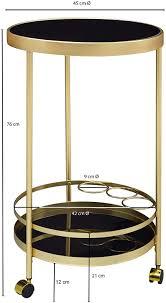 wohnling design servierwagen gold rund ø 45cm 2 ebenen beistelltisch auf rollen mit glasplatte schwarz speisewagen küchenwagen teewagen