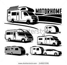 Rv Cars Recreational Vehicles Camper Vans Caravans Vector Icons