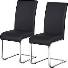 yaheetech esszimmerstühle 2er set esszimmerstuhl schwingstuhl freischwinger 135 kg belastbar schwarz kunstleder