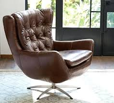 Wells Leather Swivel Armchair Pottery Barn Chair Perch Top Grain