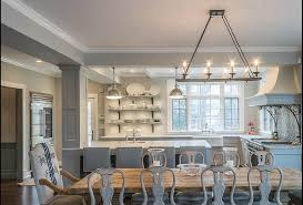 Reclaimed Trestle Dining Table With Gray Gustavian Chairs And French Burlap