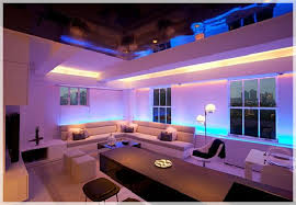 contemporary apartment with led mood lighting bench lighting