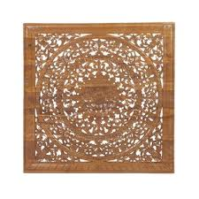 Rustic Traditional Carved Flower And Flourishes Square Teak Wood Wall Decor