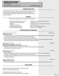 Gallery Of Resume Objective Electrician Coles Thecolossus Co And For