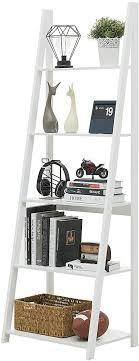 ephex leiterregal standregal bücherregal mit 5 böden lagerregal badregal multifunktionales ausstellungsregal für wohnzimmer balkon weiß