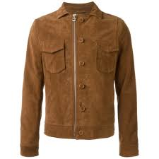 mens fashion shirt style double pocket goat suede brown leather jacket