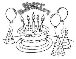 Balloons And Pointed Hat With Birthday Cake Colouring Page Coloring