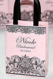 Personalized Bridesmaid Gift Idea Elegant Light Pink Paper Bag For Bridal Party With Satin Ribbon And Custom Name Wedding Gifts Favors