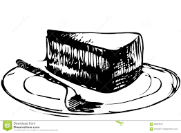 Sketch dessert piece of cake on a plate
