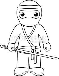 Ninja Coloring Page For Kids Vector Art