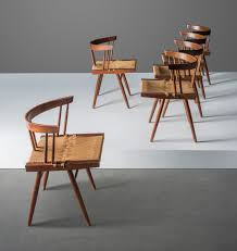 GEORGE NAKASHIMA (1905-1990) | A SET OF SIX GRASS-SEATED DINING ... 151 Orge Nakashima Conoid Ding Chairs Pair Important Design 1950s Vintage George Nakashima New Chair Ding Set Of Six Table The Arts Style Chairs In The Manner 6 Black Walnut Grass Seat Straightback Beautiful Suite Four Designed After Knoll Straight Walnut Tables Moderne Gallery Trestle With Rosewood Butterfly Joints