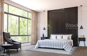 moderne schlafzimmer zu dekorieren mit braunem ledermöbel und schwarzem holz 3dbild rendern stockfoto und mehr bilder architektur