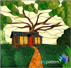 Stained Glass Tree Patterns Cabin In The Woods Pattern Free Christmas