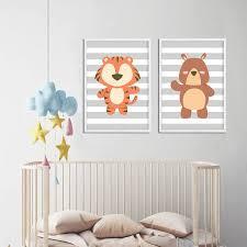 photo chambre bebe décoration poster toile tigre déco chambre enfant bébé trendisy