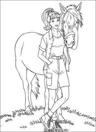 Barbie With Horse Coloring Pages