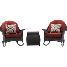 San Marino 3pc Set: 3 Woven Rocking Chairs, One Side Table - SMAR-3PC-RED -  Brown/Crimson Red Charleston Acacia Outdoor Rocking Chair Soon To Be Discontinued Ringrocker K086rd Durable Red Childs Wooden Chairporch Rocker Indoor Or Suitable For 48 Years Old Beautiful Tall Patio Chairs Folding Foldable Fniture Antique Design Ideas With Personalized Kids Keepsake 3 In White And Blue Color Giantex Wood Porch 100 Natural Solid Deck Backyard Living Room Rattan Armchair With Cushions Adams Manufacturing Resin Big Easy Crp Products Generations Adirondack Liberty Garden St Martin Metal 1950s Vintage Childrens