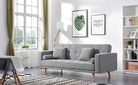 100 Modern Chic Living Room ESF 116 Contemporary Grey Fabric 3 Seat Sofabed ESF