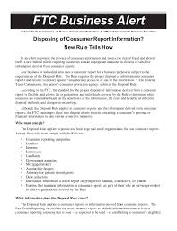 us federal trade commission bureau of consumer protection disposing of consumer report information