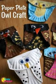 Folded Paper Plate Owl Craft For Kids