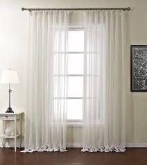 details zu voile gardine vorhang schlaf wohnzimmer streifen ösen uni creme weiß 1er pack