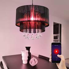 etc shop smarte led leuchte hängeleuchten esszimmerleuchten kristall pendelle wohnzimmer len decke hängend garn smart rgb led dimmbar 10w