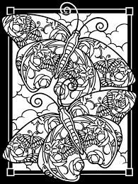 Free Coloring Page Adult Difficult Two Butterflies Black Background