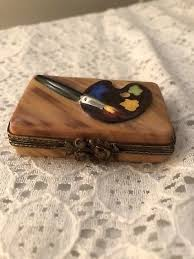 3 Of 4 Vintage Limoges Hand Painted Trinket Box Artist Painters Paint Pallet