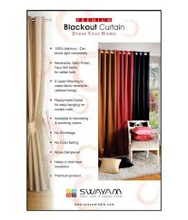 Blackout Curtain Liner Eyelet by Swayam Single Long Door Blackout Eyelet Curtain Buy Swayam