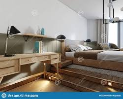 100 Loft Style Home Work Table In The Log Interior Bedroom Stock
