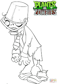 Plants Vs Zombies Buckethead Zombie Coloring Page Free