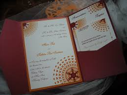 Sassy Sunburst Pocket Wedding Invitation In Burgundy And Orange