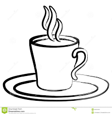 hot coffee clipart black and white 2
