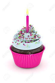 3d render of sweet cupcake with sprinkles and candle isolated on white background Stock