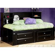 Black Contemporary RoomSaver Twin Storage Bed Laguna