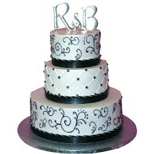 1288 3 Tier Black & White Wedding Cake ABC Cake Shop & Bakery