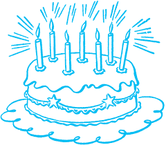 Birthday Cake Black And White Candles Clipart