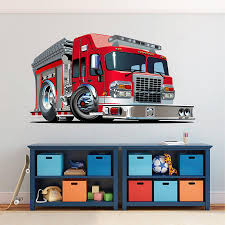 100 Fire Truck Wall Decals Cik1544 Full Color Decal Cool Fire Truck Bedroom Childrens