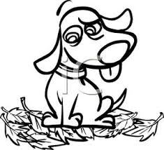 dog sitting in a pile of leaves clipart