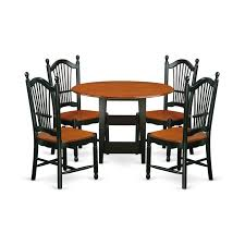 East West Furniture SUDO5-BCH-W 5 Piece Sudbury Set With One Round Dinette  Table And Four Dinette Chairs With Wood Seat In A Rich Black And Cherry ... Cophagen 3piece Black And Cherry Ding Set Wood Kitchen Island Table Types Of Winners Only Topaz Wodtc24278 3 Piece And Chairs Property With Bench Visual Invigorate Sets You Ll Love Walnut Tables Custmadecom Cafe Back Drop Leaf Dinette Sudo3bchw Sudbury One Round Two Seat In A Rich Finish Sabrina Country Style 9 Pcs White Counter Height Queen Anne Room 4 Fniture Of America Dover 6pc Venus Glass Top Soft