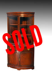sold mahogany duncan phyfe curved glass corner china cabinet